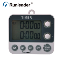Large LCD Digital Countdown 2 Channel Timer Stopwatch With Alarm For Cooking Morning Call Game Lab