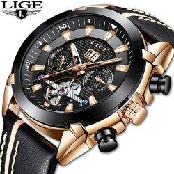 LIGE klasyczne męskie zegarki Top marka luksusowe zegar kwarcowy analogowy Casual skórzane wojskowe zegarek wodoodporny mężczyzna Montre Homme w Zegarki sportowe od Zegarki na