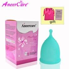 Vaginal copo menstrual feminino higiene menstrual copo 100% grau médico silicone reutilizável feminino copo suporte transporte da gota