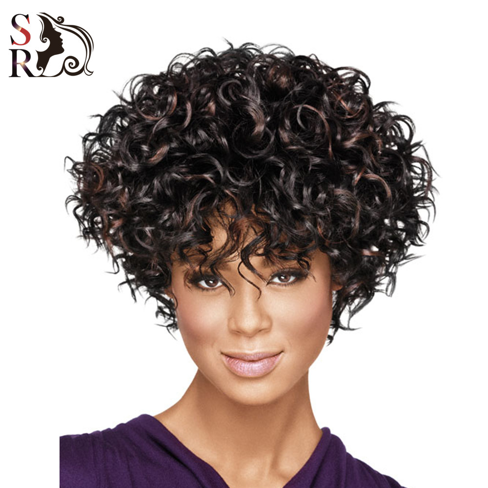 1PC Short Wigs For Black Women Natural Wig Curly Synthetic African American Afro Curl Kanekalon Fiber U Part With Bangs
