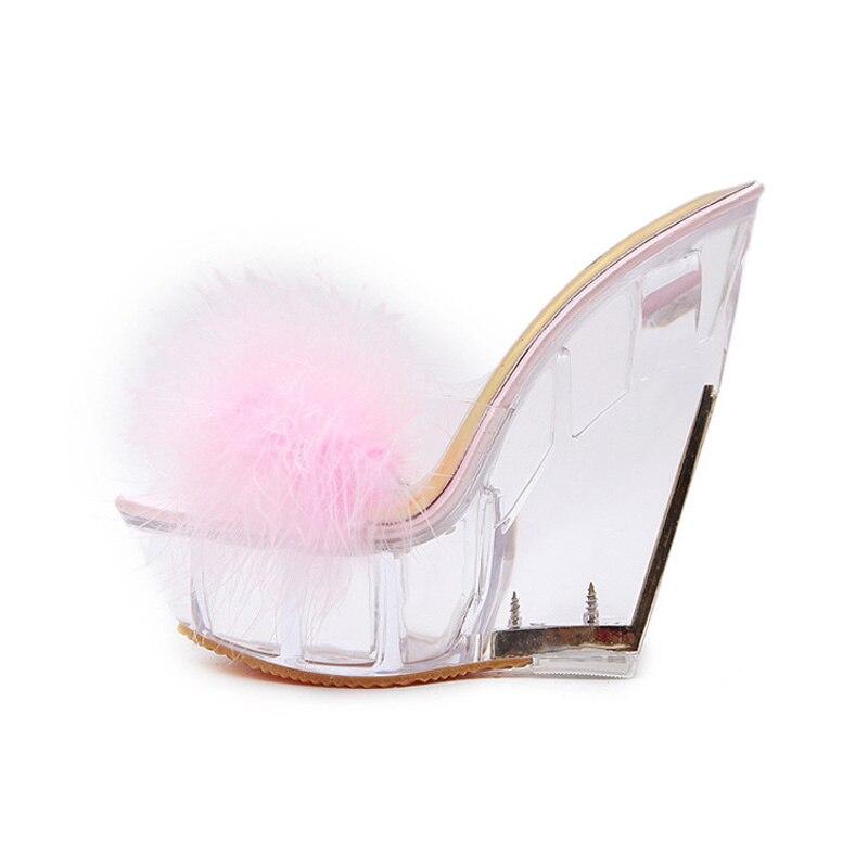 Pantoufles Femmes rose Ws1683 Sandales Mode Cristal D'été Transparent Chaussures Cales bleu Talons Hauts Plume forme Dames Apricot Plate De Talon 6b7fyvYg