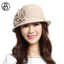 FS Winter Wool Fedora Hat Solid Flower Elegant Bowler Felt Hats Women  Cloche Fedoras Short Brim. 4 Colors Available e3495bb465d1