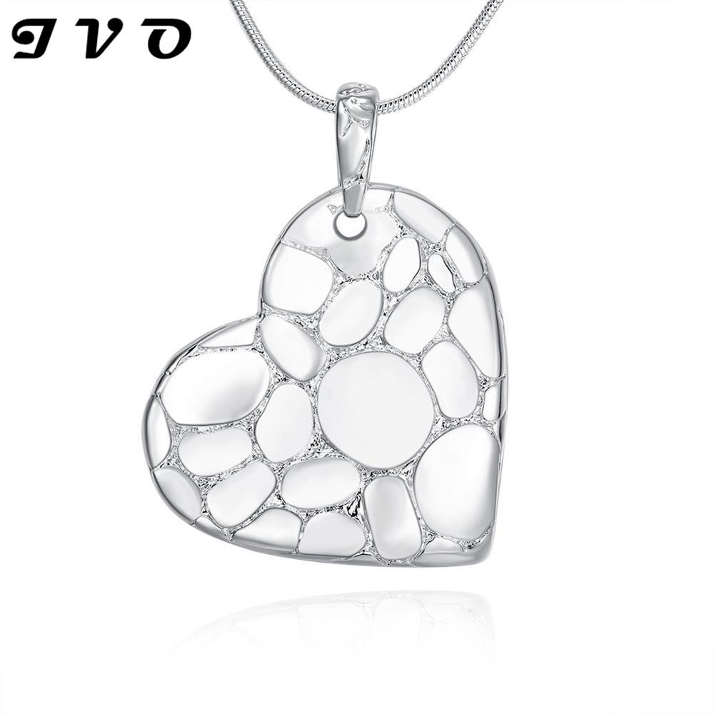 2016 New Design Heart Silver Plated Pendants Necklaces For font b Women b font Party font