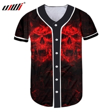 UJWI Dropshipping hombres botón camisetas Cool impresión cráneo rojo 3d  Jersey de béisbol camisas hombre manga corta Camiseta cu. 5eacd1b2917df