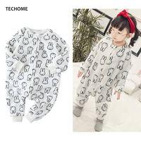 Милый кролик фланелевые пижамы комплект для Обувь для девочек сиамские спальный мешок мягкие теплые детские пижамы с длинным рукавом Детск...