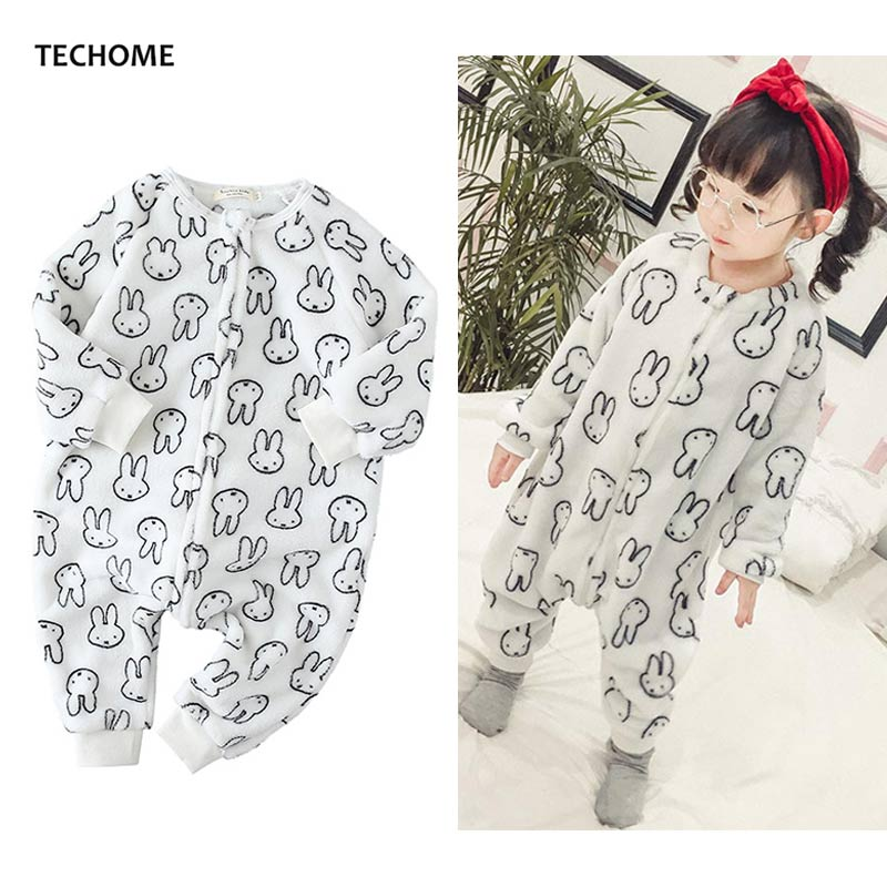 Cute Rabbit Flannel Pajamas Set For Girls Siamese Sleeping Bag Soft Warm Children's Pajamas Long Sleeve Infant Sleepwear 2 to 6T