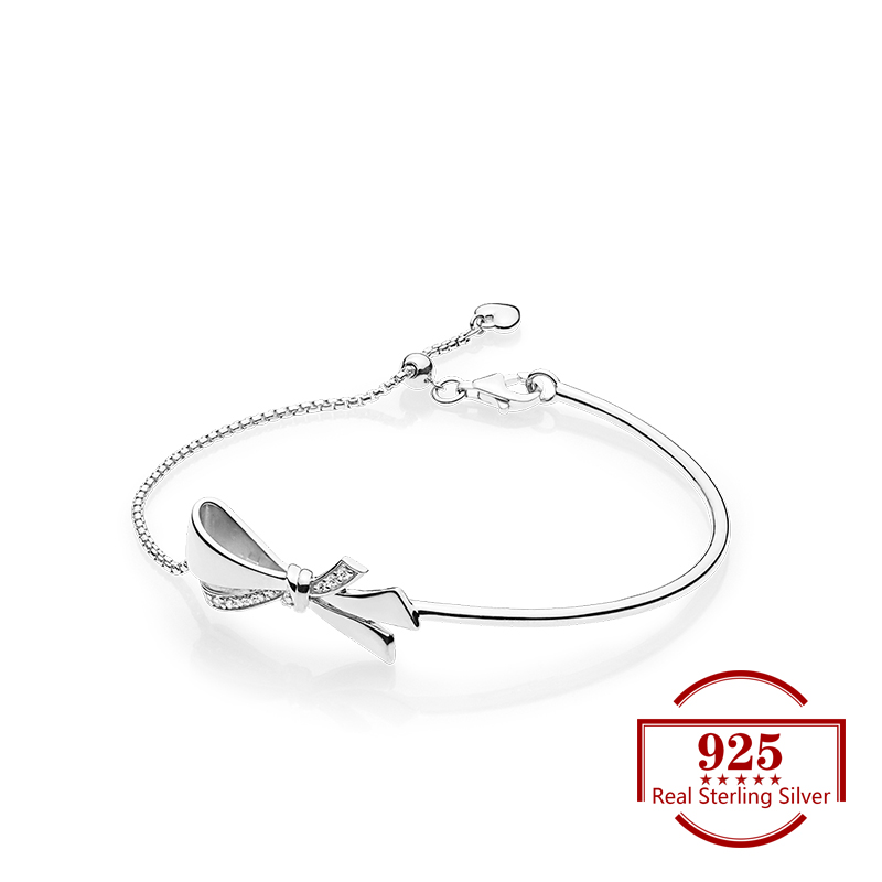 2019 925 Sterling Silver Gold Bow Adjusting Bracelets Trend Jewellery Fits Charm Bracelet for Women Party Lover Gift