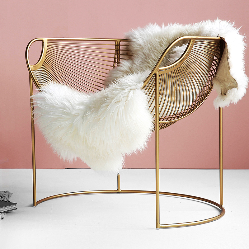 Nordic Single Sofa Chair Small Apartment Living Room Bedroom Lazy Couch Golden Light Luxury Wrought Iron Leisure Chair