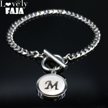 2019 Fashion Punk Letter L Stainless Steel Shell Bracelets for Women Silver Color Chain Bracelet Jewelry pulseras B18417
