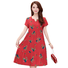 Summer 2019 New woman small floral dress printed loose cotton and fat plus size S-6XL