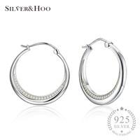 SILVERHOO Wholesale Ear Jewelry Party 925 Sterling Silver Stud Earrings Brincos Fashion Gift for Women Girls with Clear Zircon