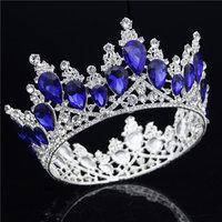 Baroque Bride Tiaras and Crowns Sparkling Diadem Crystal Crown Wedding Hair Ornament Head jewelry Pageant Tiara Headpieces
