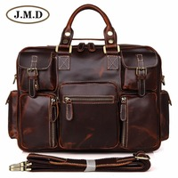 J.M.D Rare Pull Up Genuine Leather Men's Briefcase Laptop Bag Dispatch Shoulder Bag Huge 7028C