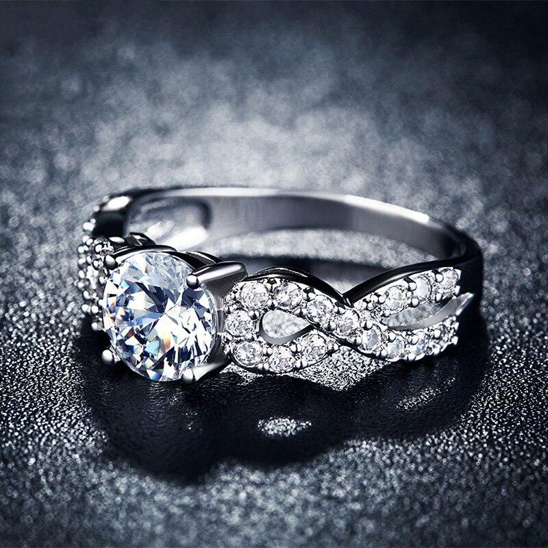 Modni vjenčani prstenovi za žene 585 Bijelo zlato u boji prepleteni - Modni nakit - Foto 3