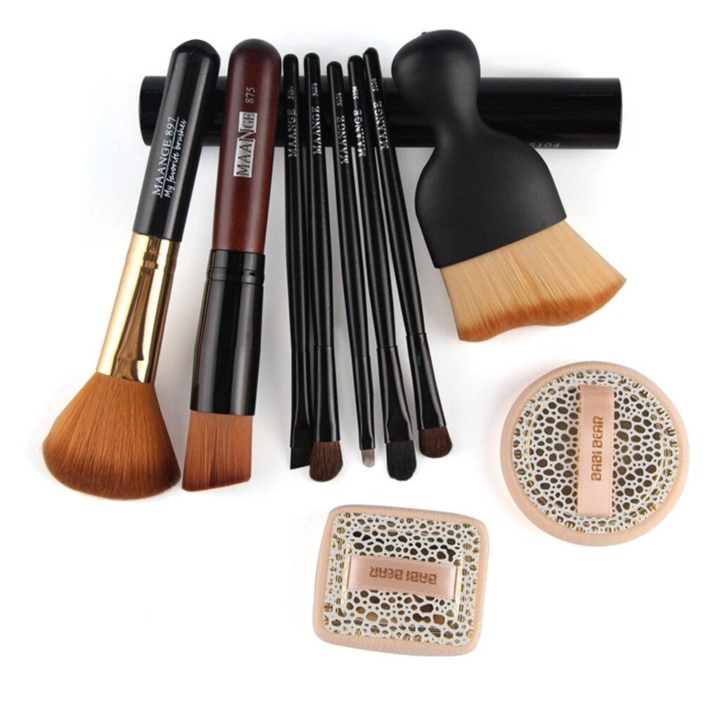 Practical Basic 10 in 1 Facial Cosmetic Tool Set with 8 pcs Facial Makeup Brushes and