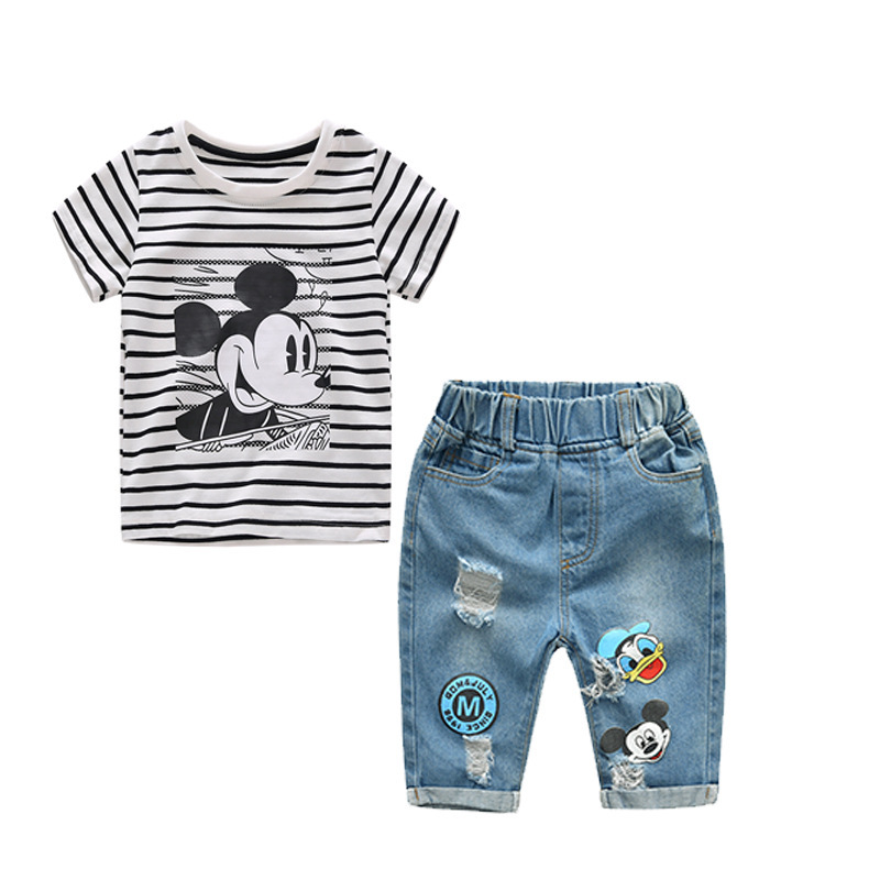 2018 New Infant Boys Girls Summer Cartoon Mickey Striped T Shirt + Denim Shorts Clothes Sets Children Kids Hole Jeans Clothing 2018 new cartoon boys clothing sets 2pcs denim jacket