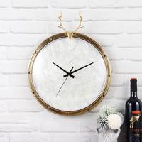 Creative Metal Hanging Shell Clock with Deer Living Room Decoration Creative Wall Clock Ornaments Deer Clock Best Gift