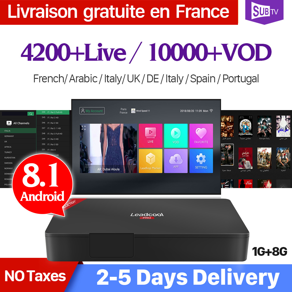 Leadcool Pro Android 8 1 France IP TV Box SUBTV IPTV 1 Year Subscription IPTV France