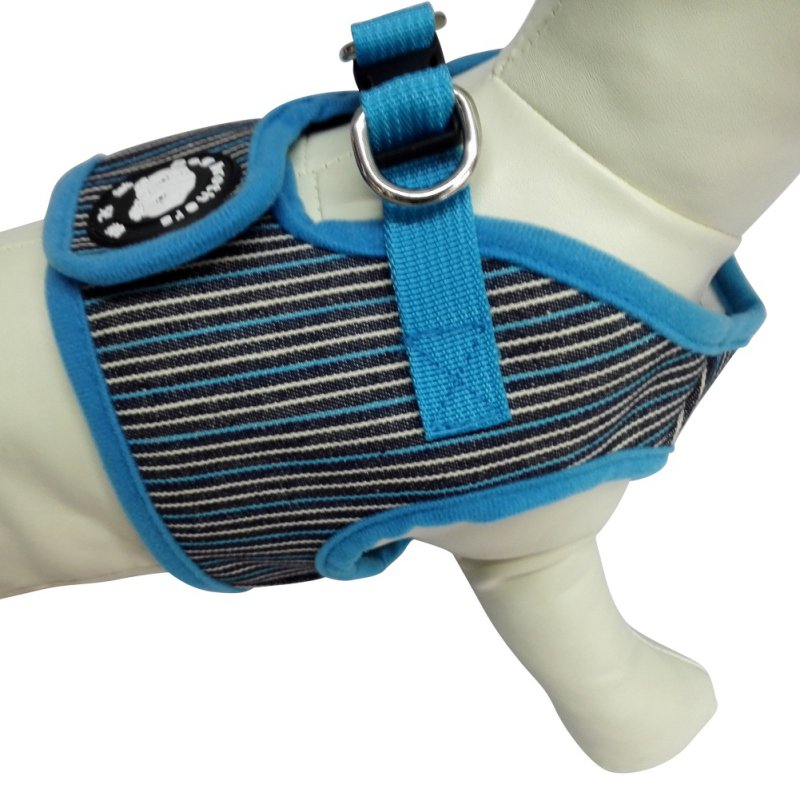 Cute Soft Puppy Small Dog Harness Striped Basic Halter Harnesses Walking Leash Leads Set 4 Sizes S M L XL