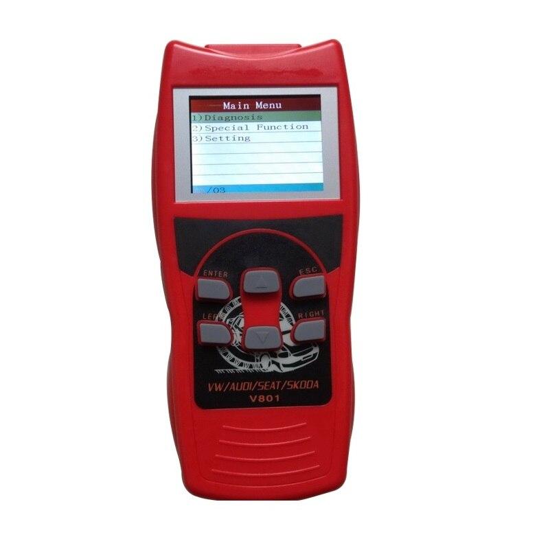 Carro do Scanner Leitor de Código para VW/AUDI FERRAMENTA DE VERIFICAÇÃO Automotiva V801 Skanner com Tela de LCD Em Dados Em Tempo Real/ reinício do óleo/Airbag Reset