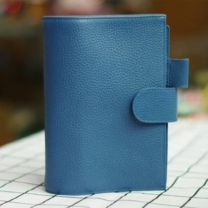 Image 3 - دفتر a6 yiwi 100% جلد طبيعي اليدوية الذهب دوامة دفتر البقر خمر مجلة مخطط لولبية يوميات مع جيب