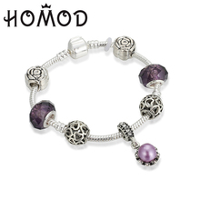 HOMOD Sliver Plated Charm Bracelets For Women With Crystal Beads Original Brand Bracelet for Women Jewelry Gift