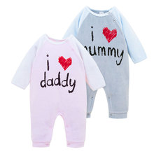 2017 New Fashion Newborn Baby Ropmer Printed letters Long Sleeve Baby Boy Girl Clothes Cotton Sleepwear Baby Rompers PY1035(China)