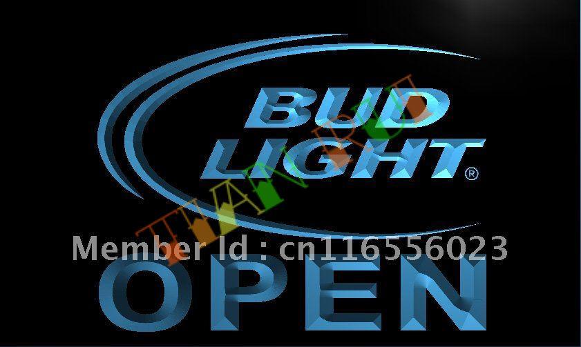 LA025 Bud Light Beer OPEN Bar LED Neon Light Sign-in