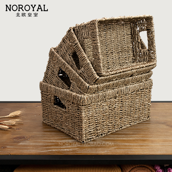 Nordic handmade rattan straw storage box large rectangular table coffee table TV cabinet drawer storage baskets