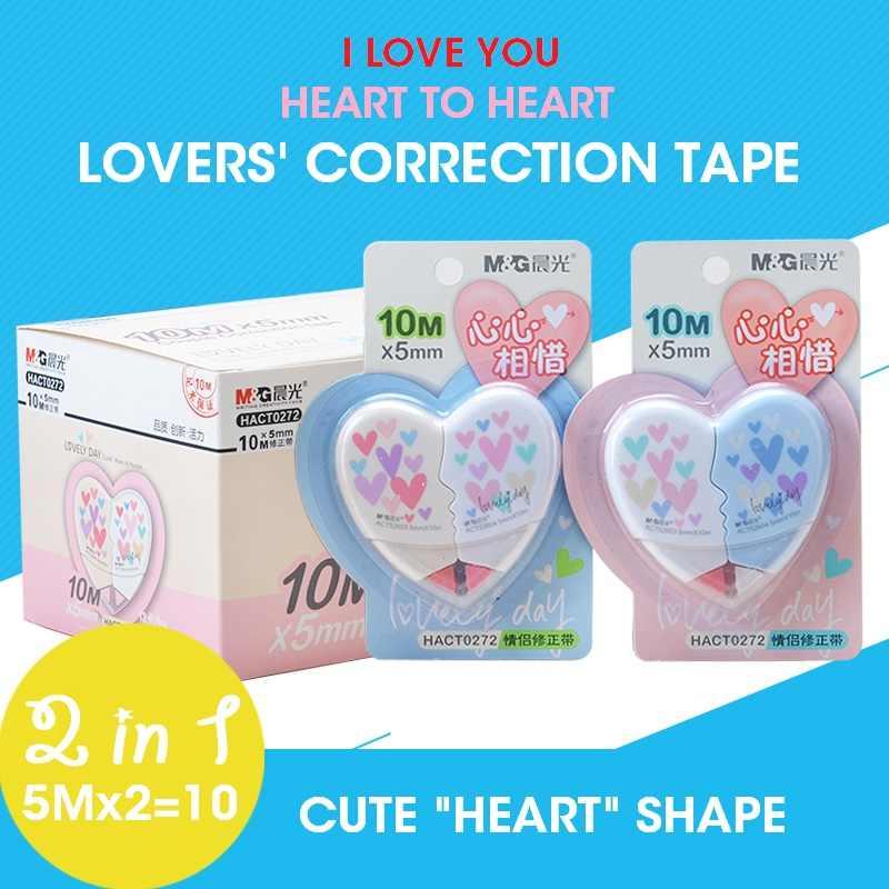 M & G 6 pçs/lote 10 M Amantes Fita Corretiva, 2 em 1, corrector Papelaria Material Escolar papelaria material escolar escola