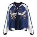 New spring women white crane flower embroidered jacket 2017 long sleeve Catwalk bomber fashion zipper casual baseball coat