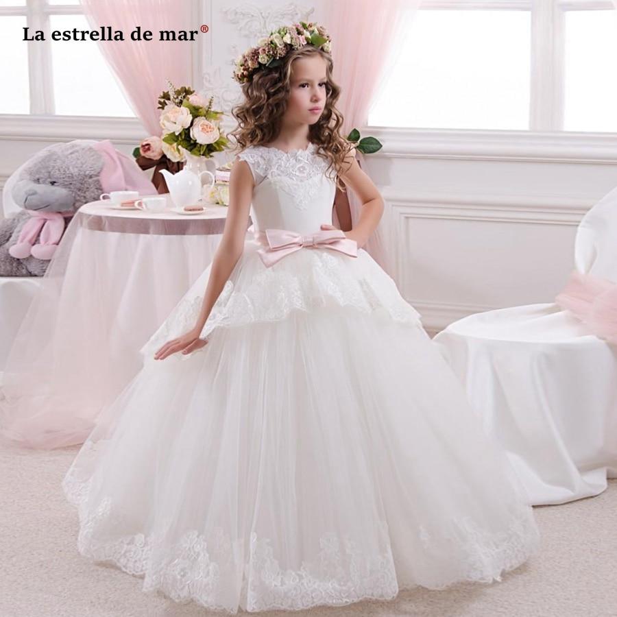 La estrella de mar Premium made vestido comunion new round neck lace a line Ivory   flower     girl     dresses   long plus size