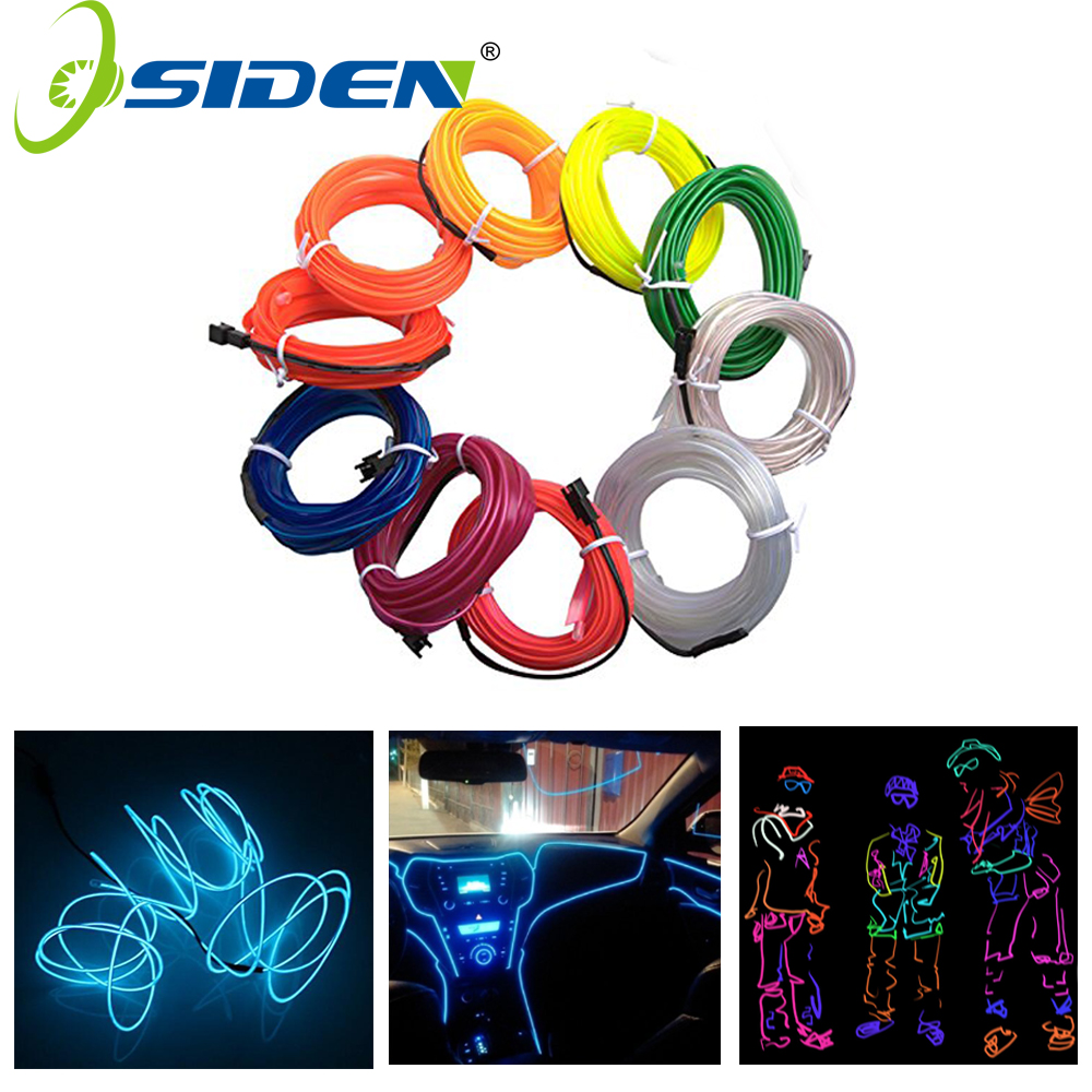 OSIDEN EL Wire light  Car 1M2M3M5M Neon String Lights Dance Party Decor Neon Light LED lamp Flexible Waterproof Led Light Strip 2017 new arrival blinking el wire mask string lights funny cute cat king neon light mask for halloween party decoration