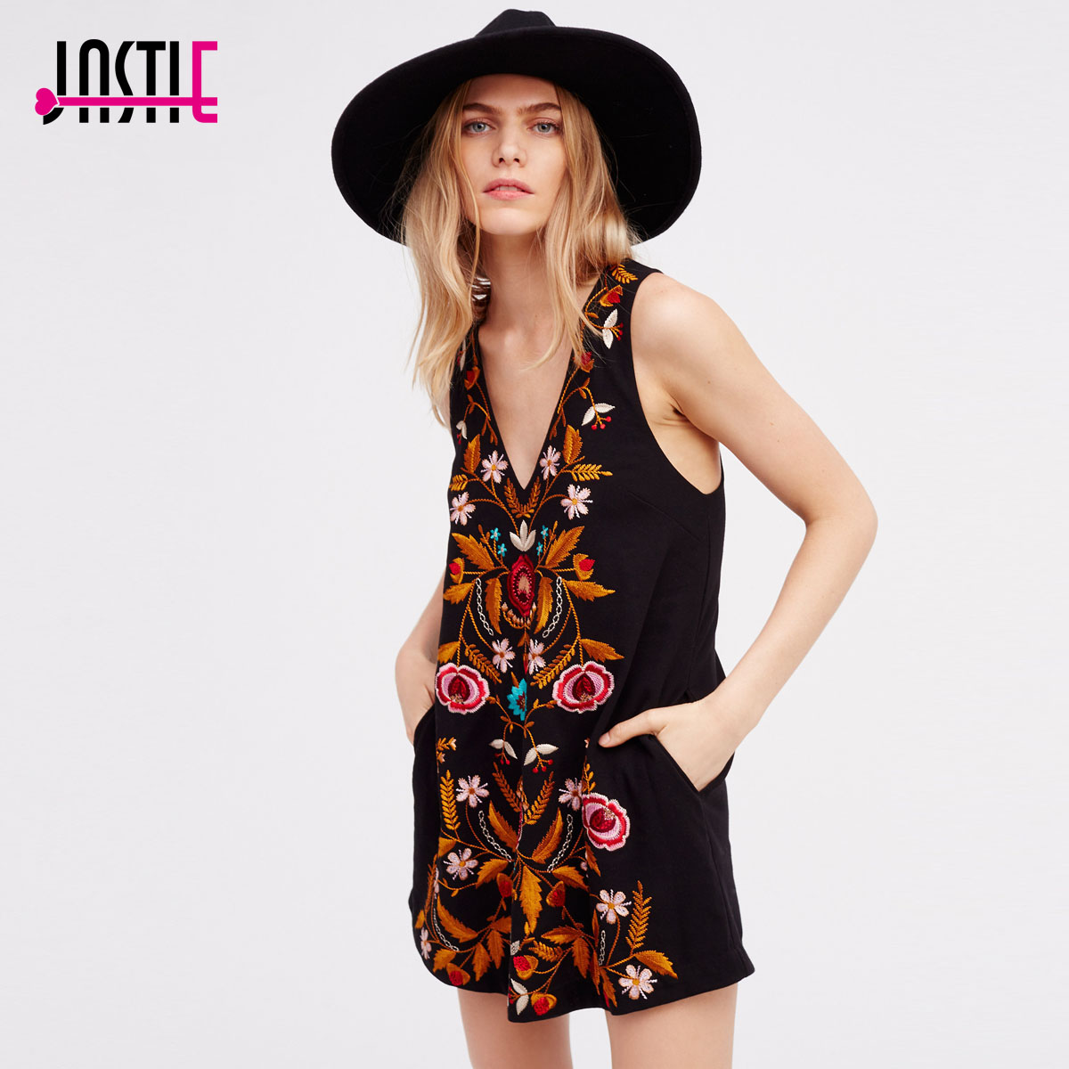 Jastie Folk Song Retro Mini Dress Gorgeous Garden Embroidery Women Dress Side Pockets V-Neckline Sexy Beach Summer Vestidos
