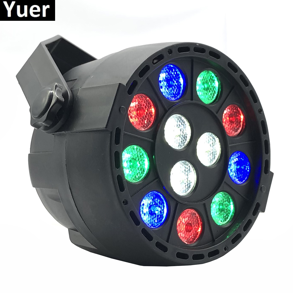 New Professional LED Stage Lights 12 RGBW PAR DMX LED Stage Lighting Effect DMX512 Master-Slave Flat Dj Light For Disco Party