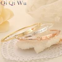Personalized Initials Bracelet Bangle DIY Women S Gift Gold Bar Custom Engraved Name Bracelet Laser Engraving