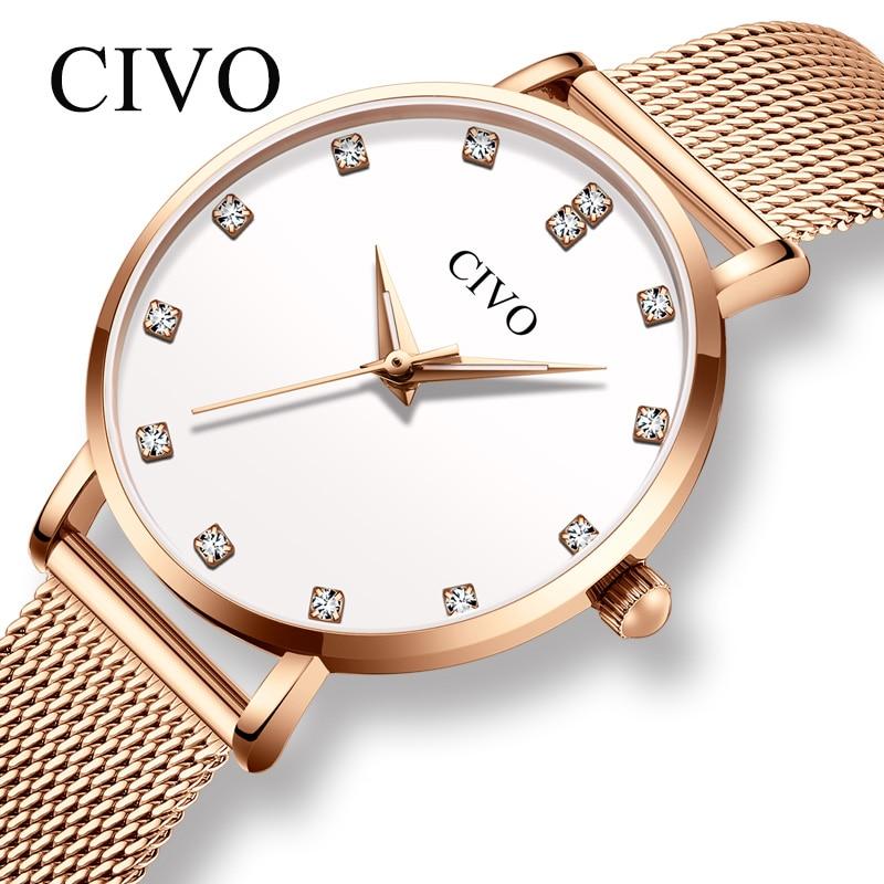 CIVO Fashion Wrist Watches For Women Luxury Diamond Bracelet Watch Waterproof Slim Steel Mesh Ladies Quartz Clock Relojes Mujer
