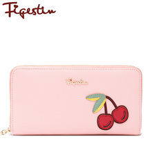 FIGESTIN New Wallet Pink Fruit Leather 19.5cm Long Fashion White 1 Piece Zipper High Quality Leather Purse Evening Cluth Wallets