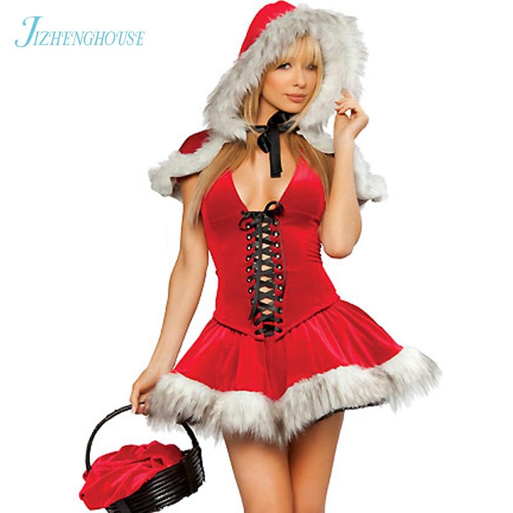 JIZHENGHOUSE Santa Claus Costume Womens Cute Halloween Party Christmas Dress