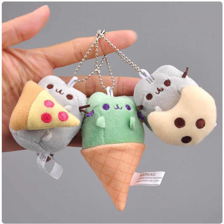 Hambúrguer sorvete Biscoitos estilo gato pingente de pelúcia boneca chaveiro de pelúcia boneca de brinquedo mini bonito clamshell 8 cm WJ04