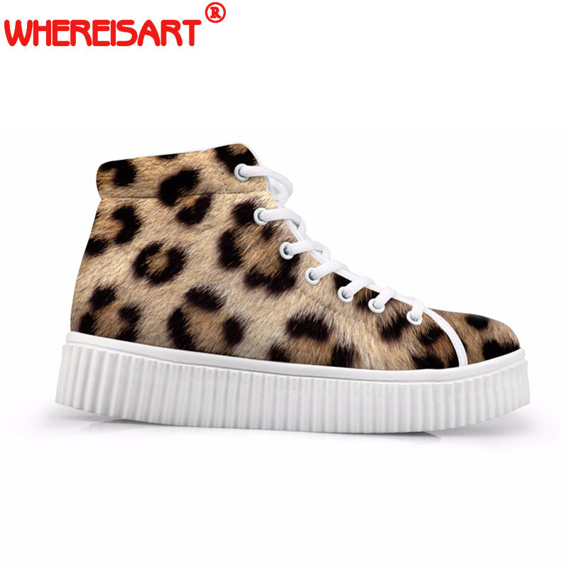 WHEREISART 3D Imprimé Léopard Femmes Appartements Plate-Forme Chaussures Mode High Top Casual Bottes pour Dames à lacets Chaussures Creepers mujer