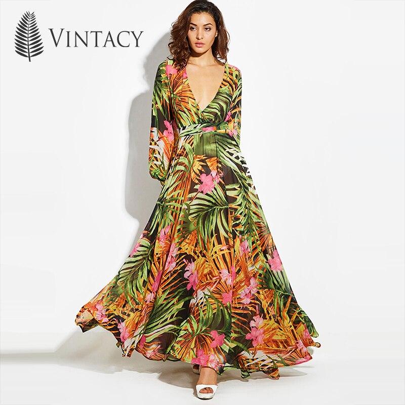Vintacy 2017 Fashion women summer maxi beach dress green v neck long dresss bohemian lantern sleeve boho dress femal party dress