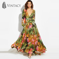 Vintacy Summer Dress V Neck Floral Print Long Dress Long Sleeve V Neck Bohemian Lantern Sleeve