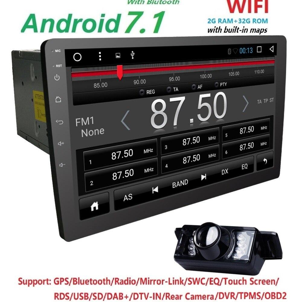 Последние 2017 Android7.1 стерео 2 GRAM + 32 ГРОМ Авто Радио HD 1024*600 gps радио 10,1 дюйма экран Универсальный QuadCore головное устройство CAM