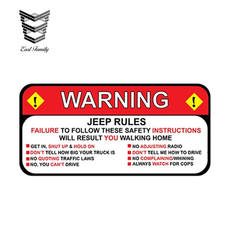 earlfamily 13cm x 6 3cm for jeep rules warning decal sticker wrangler sahara funny vinyl
