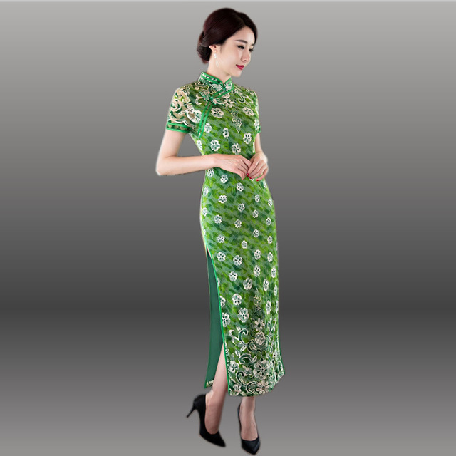 1b3639afc Chinese Traditional Dress Women Sexy Qipao Long Green Cheongsam Dresses  Lace Qi Pao Vestido Oriental Robe