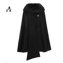 Womens Capes And Ponchoes 2015 New Autumn Winter Long Wool Coat Women Hooded Fur Poncho Manteau Femme Cloak 2 Colors