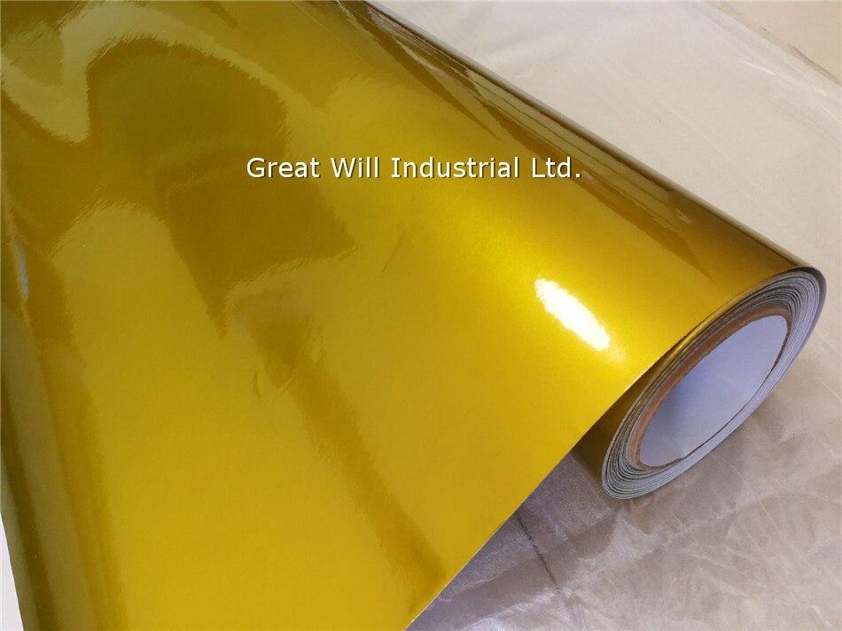 Глянцевая металлическая желтая Золотая виниловая обёрточная бумага, полное покрытие для автомобиля, карамельный желтый для автомобильного стайлинга, блестящая обёртка, Размер 1,52*20 м/рулон - Название цвета: gold