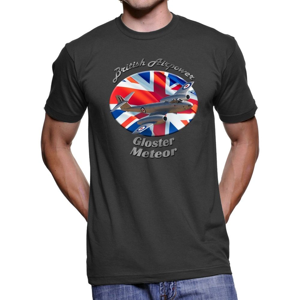 Frugal 2019 New Summer Fashion Men Tee Shirt Gloster Meteor British Airpower Men`s Dark T-shirt Exquisite Workmanship In