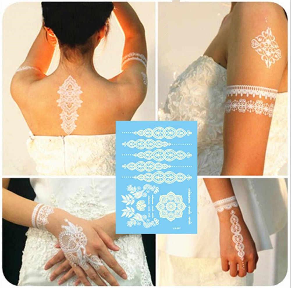 สีขาวสีแฟลช Tattoo สติกเกอร์แรงบันดาลใจ Henna Lace หมึกแฟชั่น Body Art Water Transfer Body Painting Decals สติกเกอร์